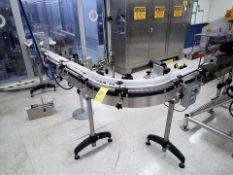 "slat-top chain conveyor, s/s, approx. 3"" x 80', (5) 90 deg., power, VSD w/ 4.5 x 11' additional"