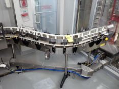 "dual slat-top chain conveyor, s/s, approx. 3"" x 12' ea., (2) 45 deg. (Subject to confirmation. The"