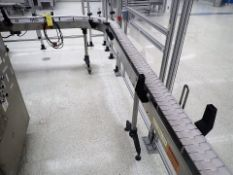 "Trio-Pak slat-top chain conveyor, s/s, approx. 4.5"" x 19', 90 deg., 1/2 hp, VSD"