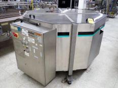 Hoppmann mod. FT-50-2LDSA centrifugal bottle descrambler/stand-up, s/s, ser. no. S3125-910