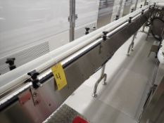 "(2) slat-top chain conveyor, s/s, approx. 2.5"" x 22' & 2.5"" x 8', power, VSD (Subject to"