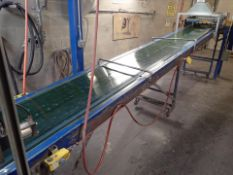 """Phoenix power inclined belt conveyor, approx. 24"""" x 19' on casters (Subject to confirmation. The"""