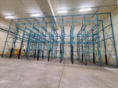 "[LOT] 10 section drive in pallet rack, 16' x 50""w (11) upright, 189"" x 50""w (11) upright, 12'9"" rail"