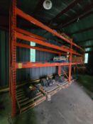 """[LOT] (8) section pallet rack, (4) 152""""h x 42""""w - (4) upright, (4) 137""""h x 42""""w - (7) upright, ("""