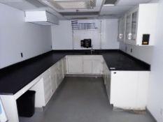 "[LOT] (3 sec.) lab cabinets w/ upper/lower cabinets, slate top, sink, 32"" x 84""/116""/128"", 30"" x"