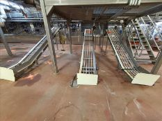 """[LOT] (3) stainless incline conveyors, no belt, 14'l x 18""""w [Dryer Area]"""