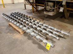 """[LOT] (4) stainless screw augers, (1) 12'l x 8"""" diameter, (1) 8'l x 8"""" diameter, (2) 10'l x 8"""""""