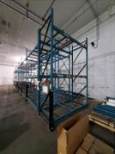 """[LOT] 15 section pallet rack, 16'h x 44""""w, (20) upright, (90) 8' cross bar [Packaging Warehouse]"""