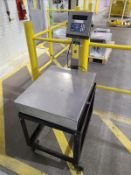 """GSE stainless digital platform scale, mod 465, s/n 147601, 22"""" x 28"""", with mobile stand, 100 lb."""