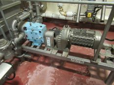"Waukesha stainless positive displacement pump, mod 130 U, s/n 604659, 3"" x 3"", with 10 hp motor on"