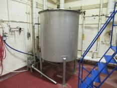 """Vertical stainless holding tank, 5'h x 52"""" diameter, single wall, with Fristam centrifugal pump, mod"""