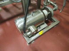 Fristam stainless centrifugal pump, mod FT 202-15, s/n 973521, with 5 hp motor on stainless frame,