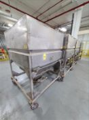 """[LOT] (4) stainless product hopper bins, 67""""h x 5'w x 5'l, bottom slide gate, mobile [Packaging"""
