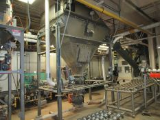 Horizon stainless product hopper bin system, mod XB6SH88S, s/n 0-7948-001, with (2) rotary valve,