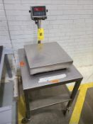 "Western stainless digital platform scale, mod M-1, s/n 4042, 18"" x 18"", with stainless mobile stand,"