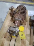 """Fristam stainless centrifugal pump, mod FPR 742-170, s/n 1503059, 2"""" x 2"""", with 5 hp motor ["""