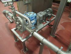 "Waukesha stainless positive displacement pump, mod 130 U, s/n 466845, 3"" x 3"", with 3 hp motor on"