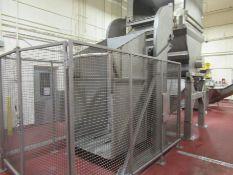 "Cozzini stainless vat dumper, mod CVD 600, s/n 837608, 12' overall height, 8'4"" h x 5"" w x 49"" deep,"