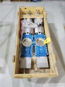 """[LOT] (2) 316 stainless pneumatic gate valve, mod HGL015UOOY50, 6"""" [Packaging Warehouse]"""