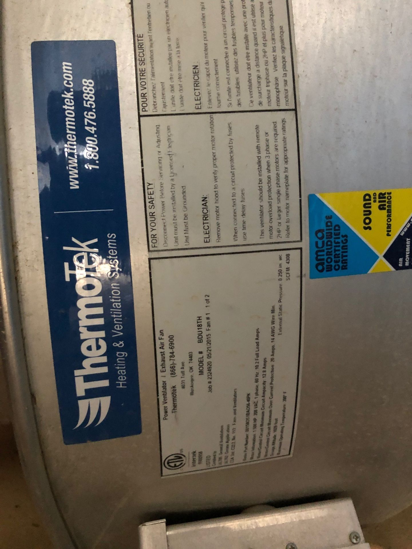 ThermoTek Exhaust fan; model #BDU18TH (In compressor Shed) - Subj to Bulk - Image 2 of 2
