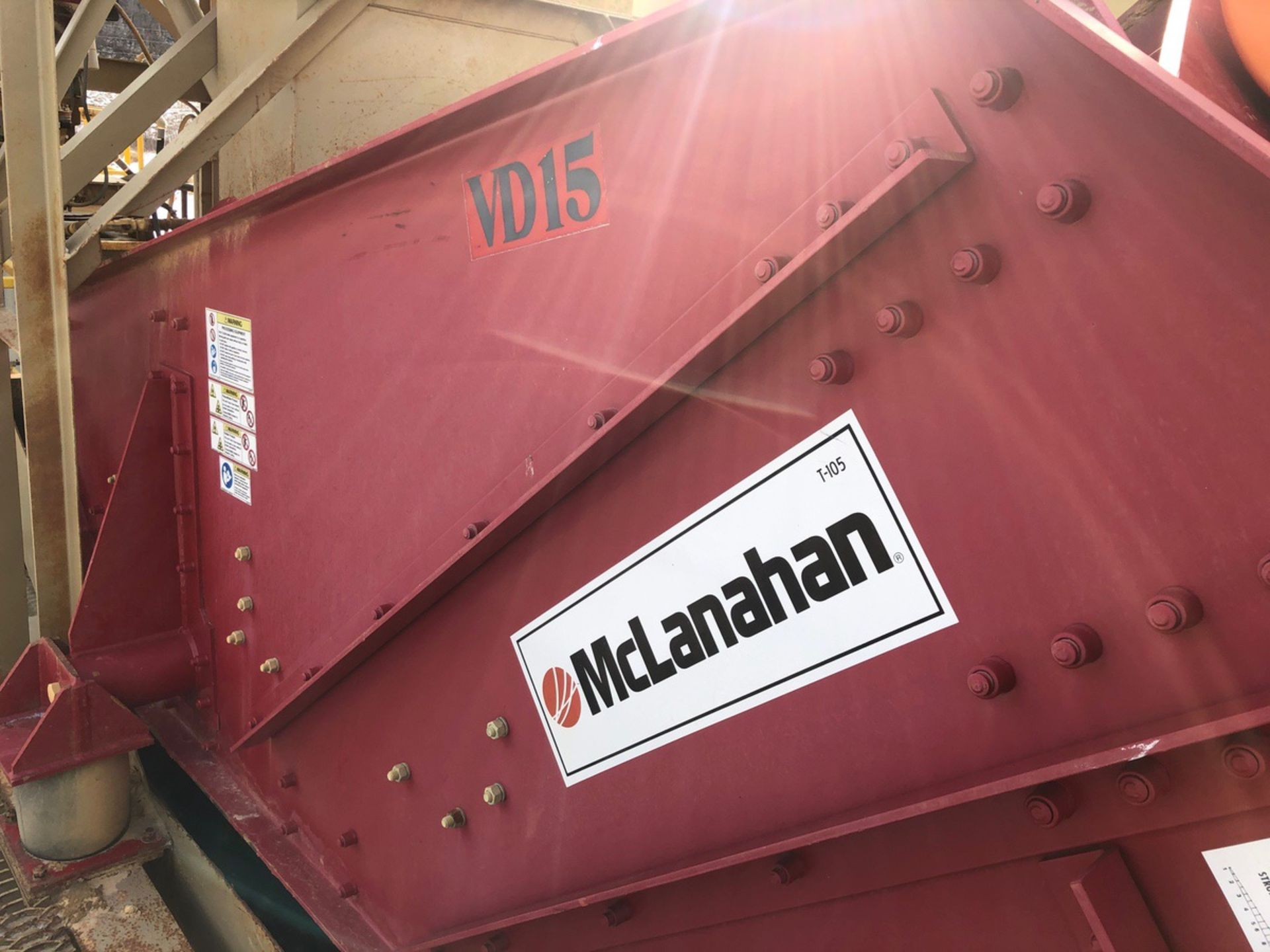 McLanahan Model VD15 5' x 12' Single Deck Dewatering Screen, S/N 20123080, Asset #DWS - Subj to Bulk - Image 2 of 3