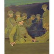 Grenville Irwin (British 1893-1947) 'Soon to be on the move' ~ World War 1 Tommys oil on plywood