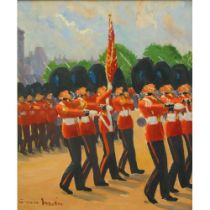 Grenville Irwin (British 1893-1947) 'The King's Colours' oil on plywood panel panel size: 610 x
