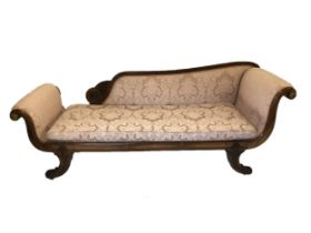 A fine Regency Rosewood Chaise/Daybed with ormolu mounts and a classical scroll shape it does also