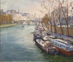 'View of Paris' Norman Edgar RGI (1948 - ) Oils on canvas 25x29 cm Frame size 39x43 cm