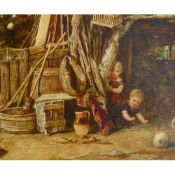 John Henry Dell (1836-1888) 'Rolling Turnips' 15 cm x 24 cm Oil on panel