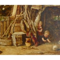 John Henry Dell (1836-1888) 'Rolling Turnips' 15 cm x 24 cm Oil on panel