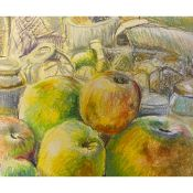 Geoffrey Underwood (1927-2000) Still life with fruit. Pastels on card. Unframed Pastels on card 41