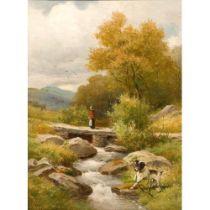 John Bates Noel (1870-1936) 'An adventurous terrier' Oils 33 cm x 25.5 cm Framed