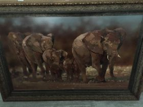 "James Stroud, oil on canvas. Entitled ""Searching for Water "".In a large gilt plaster frame.61 cm x"