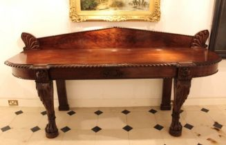 George III Mahogany serving table. Circa 1815. With splash back and decorated with a deep hadron