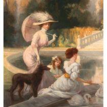 Jules Lentrein (1875-1943) 'Elegant figures by an ornamental pool' Oils 99 cm x 76 cm Framed