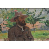 Honoré Cavaroc (1846-1930) 'Louis Bourgeois Souvenir amical' oil on canvas laid down on plywood