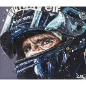 Damon Hill by Paul Oz. An Original oil on board. Measurements - 114.3cm x 99.06 cm