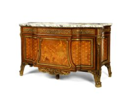 A French Late 19th Century Gilt Bronze mounted Amaranth, sycamore & Fruitwood Marquetry Commode,