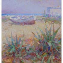 The White Boat' Ricardo Cejudo Nogales Spanish, born 1952 Framed