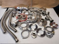 LARGE LOT OF HIGH VACUUM FITTINGS, BELLOWS, PARTS, ETC