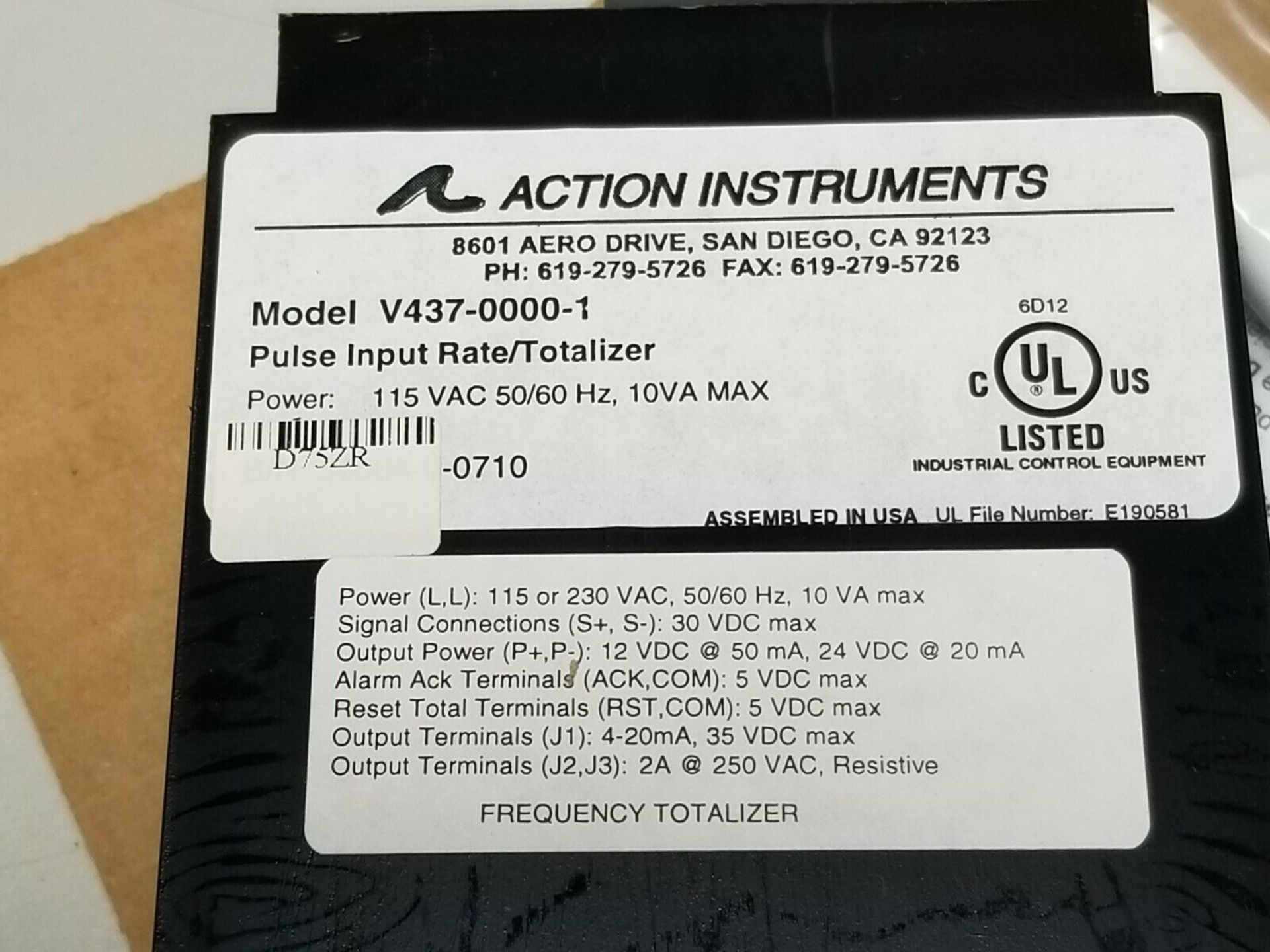 NEW ACTION INSTR VISIPAK RATE/TOTALIZER PANEL METER V437-0000- - Image 7 of 7