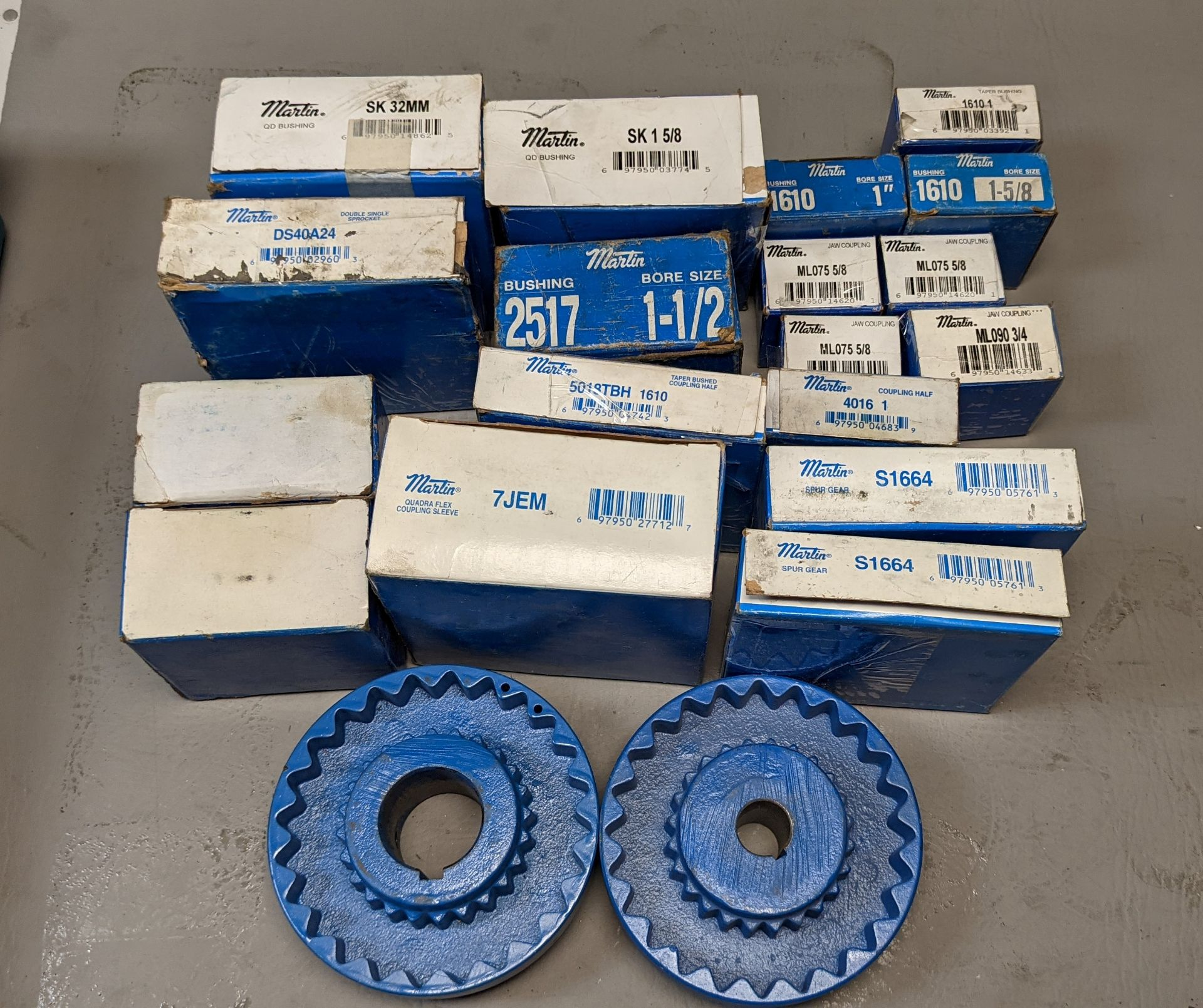LOT OF NEW MARTIN SPROCKETS, SPUR GEARS, COUPLINGS ETC