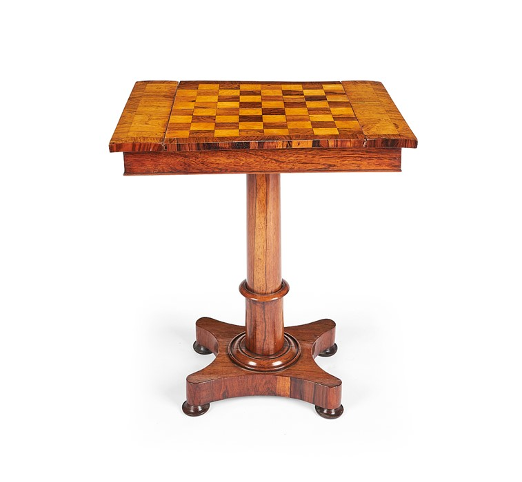 A William IV rosewood, satinwood and bird's-eye maple parquetry games table