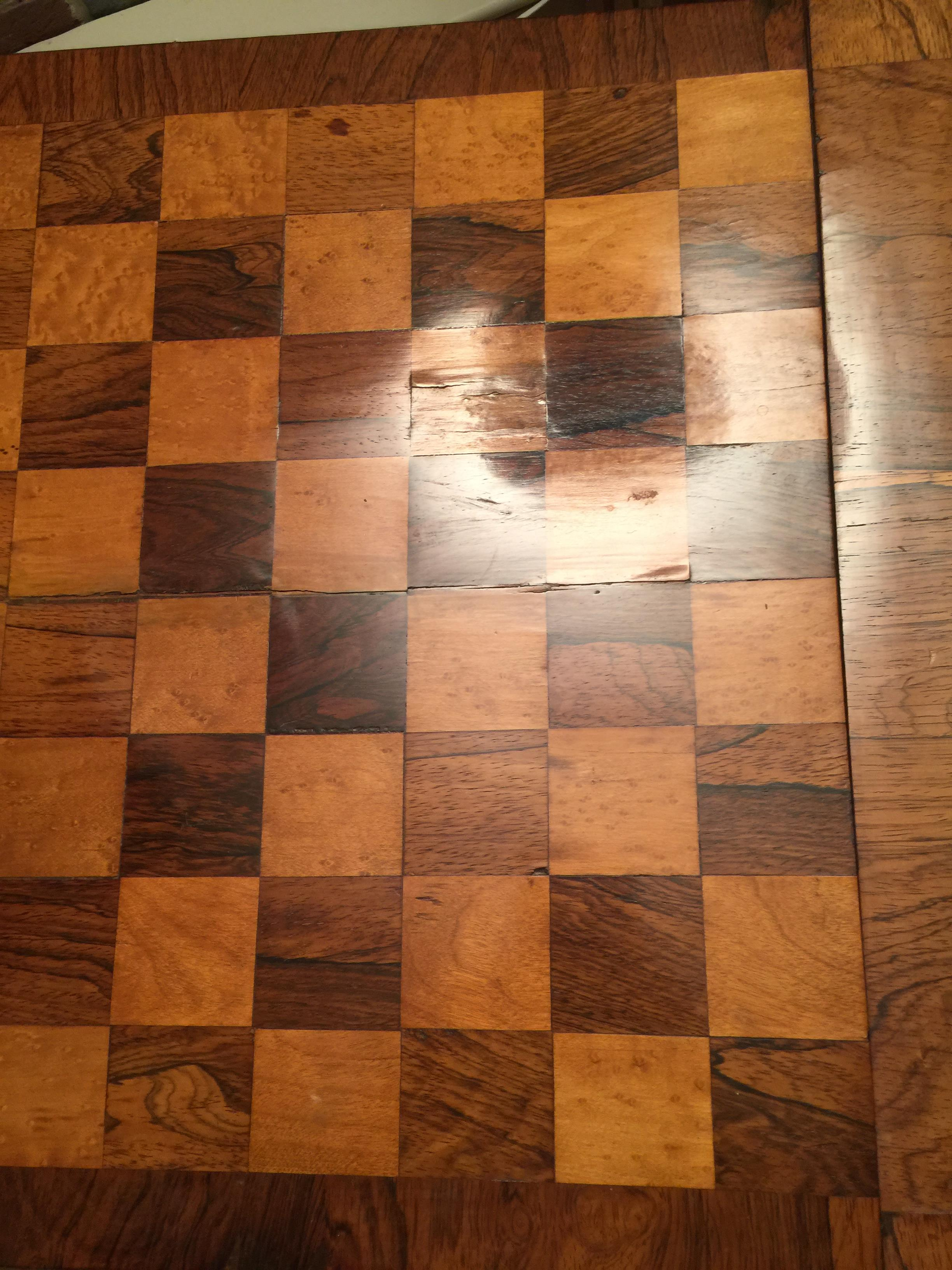 A William IV rosewood, satinwood and bird's-eye maple parquetry games table - Image 5 of 14