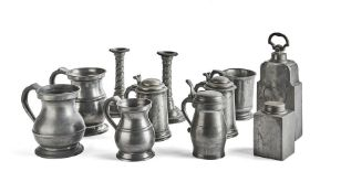A group of 19th century pewter items