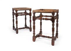 A pair of European oak stools, early 18th century