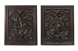 A pair of Dutch carved oak panels, 17th century