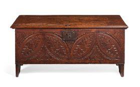 A Charles I oak plank chest