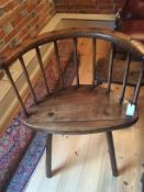 A George III ash, elm and sycamore stick-back Windsor and an elm footstool